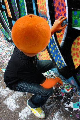 orange head graffiti